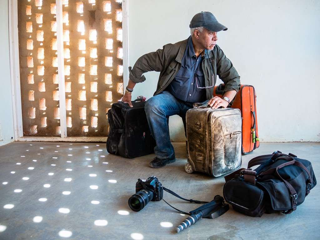 Photographer Lou Jones traveling light for the panAFRICAproject.