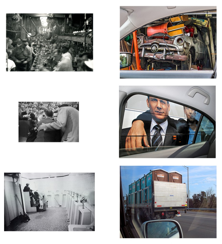 """B&W photographs from top to bottom by Robert Frank: """"Assembly line - Detroit"""", """"Convention hall - Chicago"""", Men's room, railway station - Memphis Tennessee"""". All color photographs by Karl Baden (courtesy of the artist and Miller Yezerski Gallery, Boston)."""