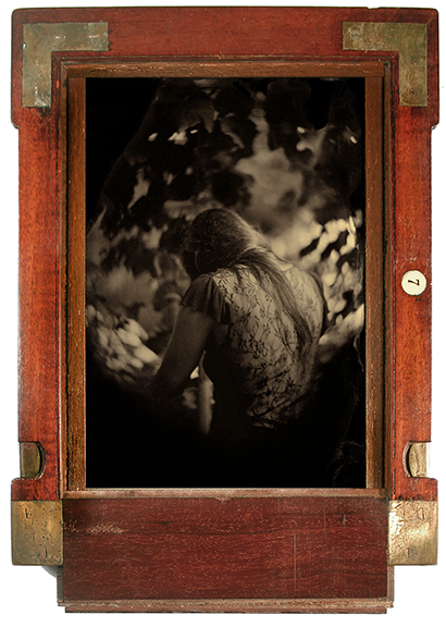 """""""Secret Garden"""" original tintype in antique dry plate frame by Smith Eliot (courtesy of the artist and 555 Gallery, Boston)."""
