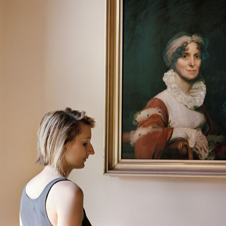 Frances Denny Edith, with a portrait of her ancestor (Milton, MA) 2013 ©Frances F. Denny (courtesy of ClampArt, NYC)