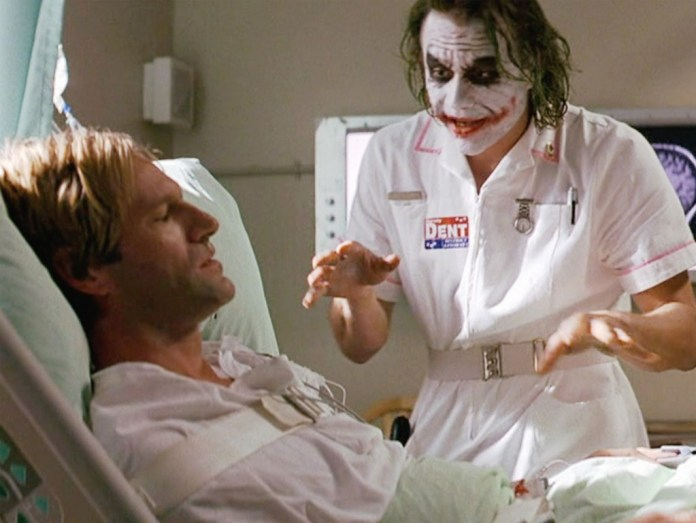 "The scene in which The Joker gives his famous ""plan"" speech."