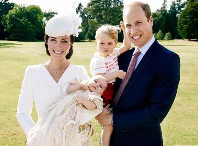 William, Charlotte, Kate & George at Charlotte's Christening July 5 2015