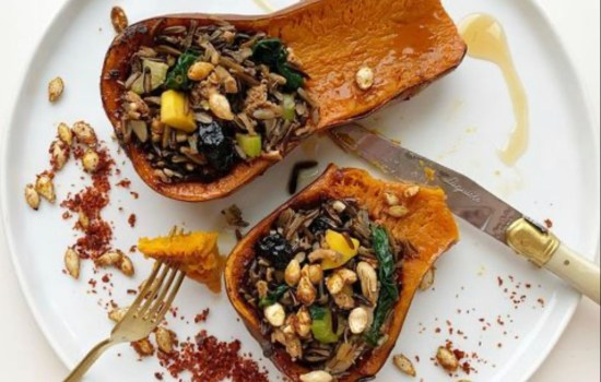 ROASTED WINTER SQUASH WITH BLACK WILD RICE STUFFING