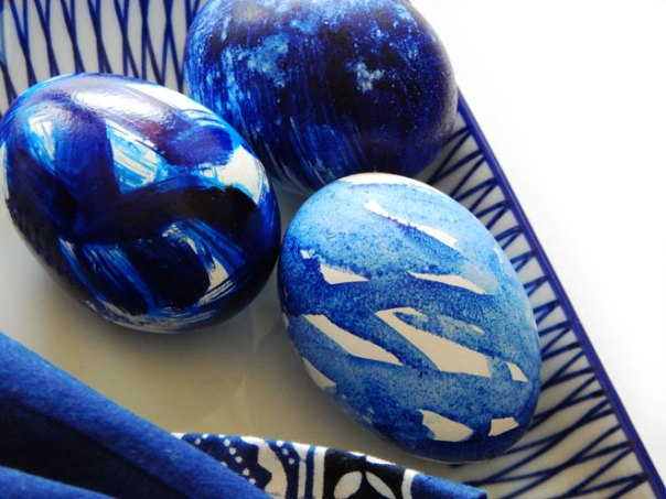 Three indigo Easter eggs