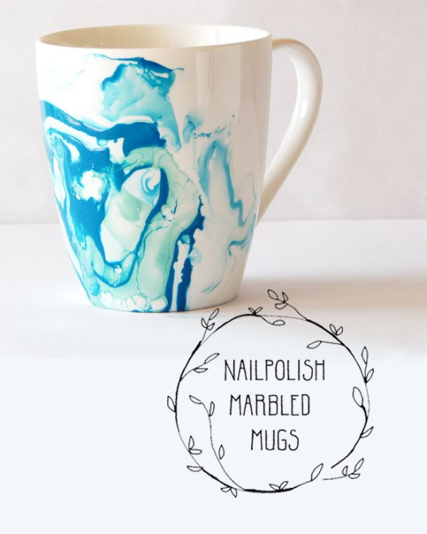 Nailpolished marbled mugs