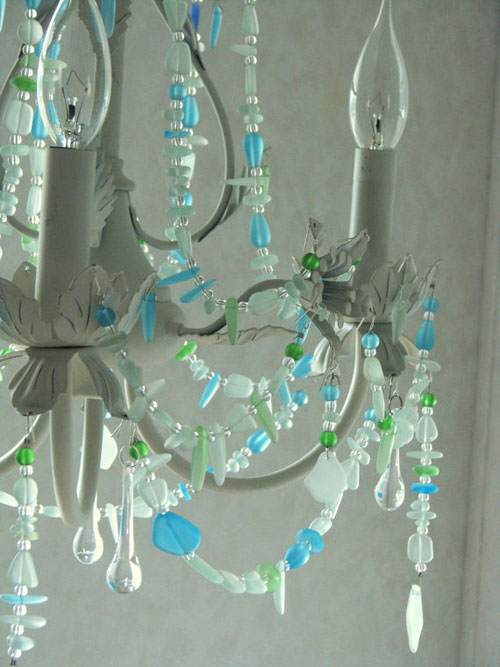 beach glass chandelier