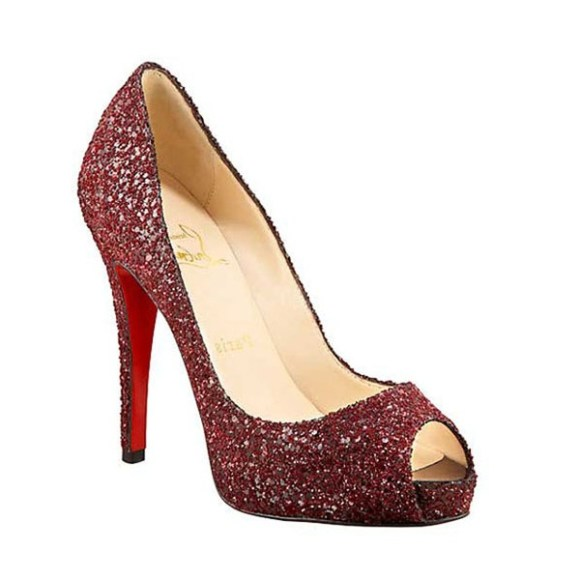 """Ms. Frye is wearing a pair of """"Christian Louboutin"""" glittering platform peep toe pumps Oxblood shoes.....a trademark of her *SHOE FEVER * when she is conducting a LIVE AUCTION....!"""