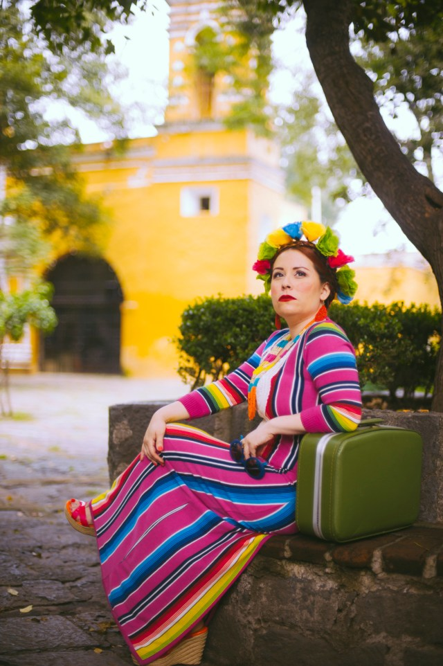 VIsiting a half of her roots was just synergy to go back and create an essence of the time and the place, the costumes and the spaces. Mexico City Hair by: Maria Mexican print dress: Vintage by Misty Photographer: Valeria Castillo for Flytographer