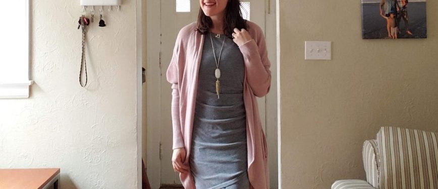 winter date night outfit ideas - tips for date night outfits - date night style - mom date night outfit - mom blog - Nordstrom Leith circle cardigan and ruched dress outfit - Kendra Scott necklace - What You Make It blog