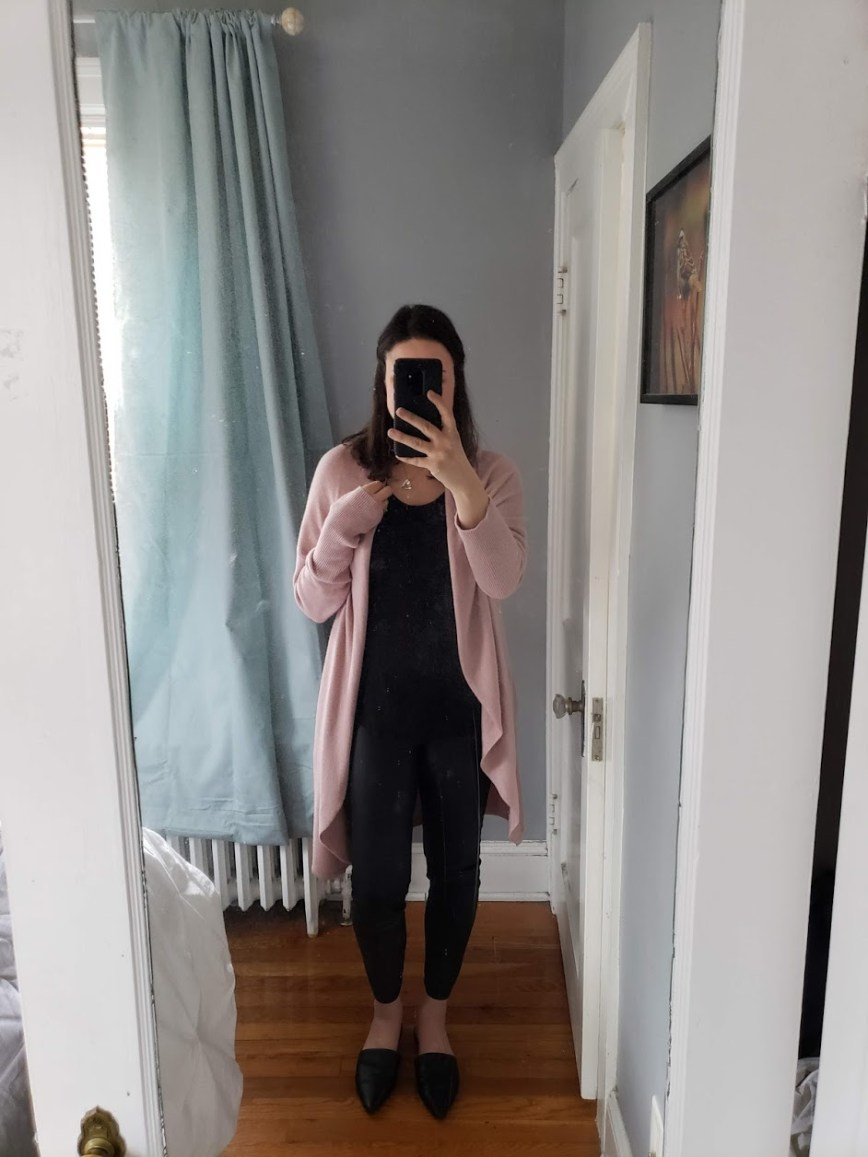 winter date night outfit ideas - tips for date night outfits - date night style - mom date night outfit - mom blog - Leith circle cardigan - blush cardigan - LOFT leggings - faux leather leggings - What You Make It blog