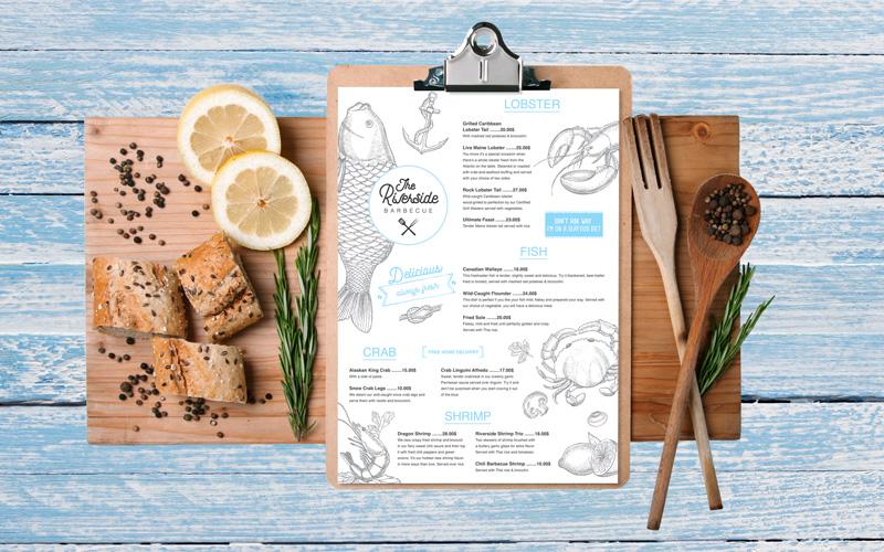 Design Riverside restaurant menu colors jpg 800x500