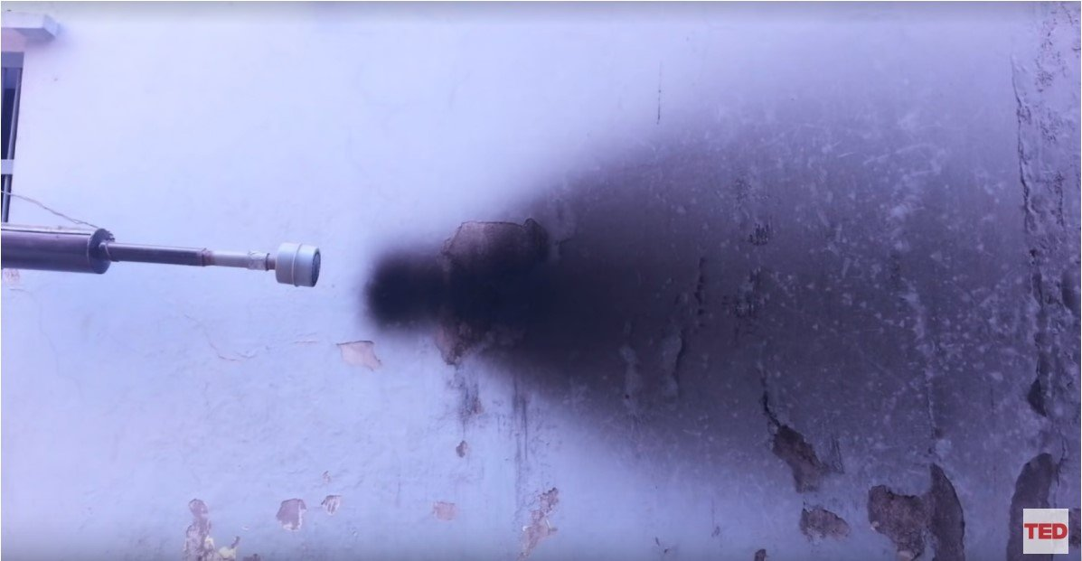 Picture from exhaust air pollution creating the idea for using air pollution for black ink