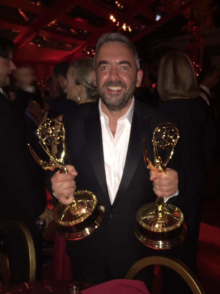 Simon Blackwell arrives at HBO's after-party with his Emmys in hand.