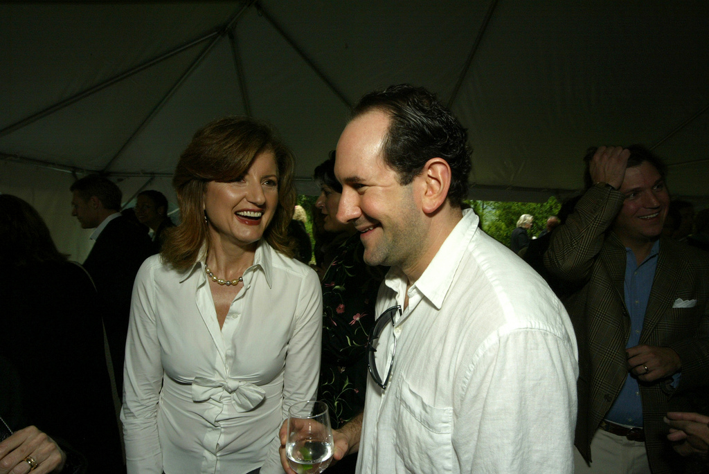 Classic shot of Arianna Huffington and Matt Drudge from the 2005 White House Correspondents' Garden Brunch