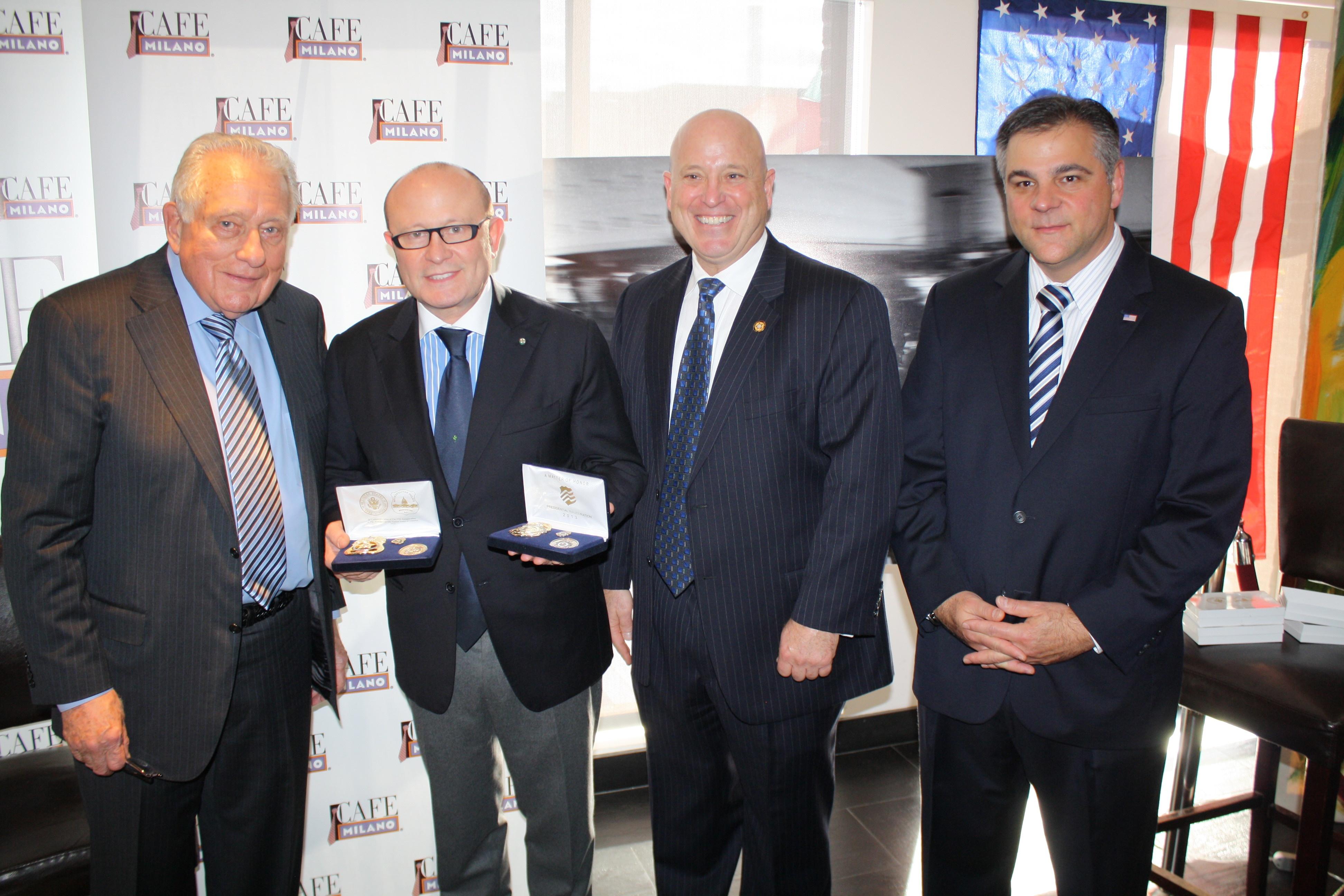 Clint Hill, Franco, Nuschese, Marcello Muzzatti and Daniel DeSimone at Cafe Milano, Photo Courtesy of Haddad Media