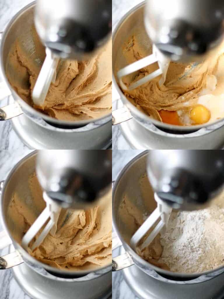 creaming the sugar into the peanut butter, adding the egg, vanilla and milk, and then dry ingredients in a stand mixer.