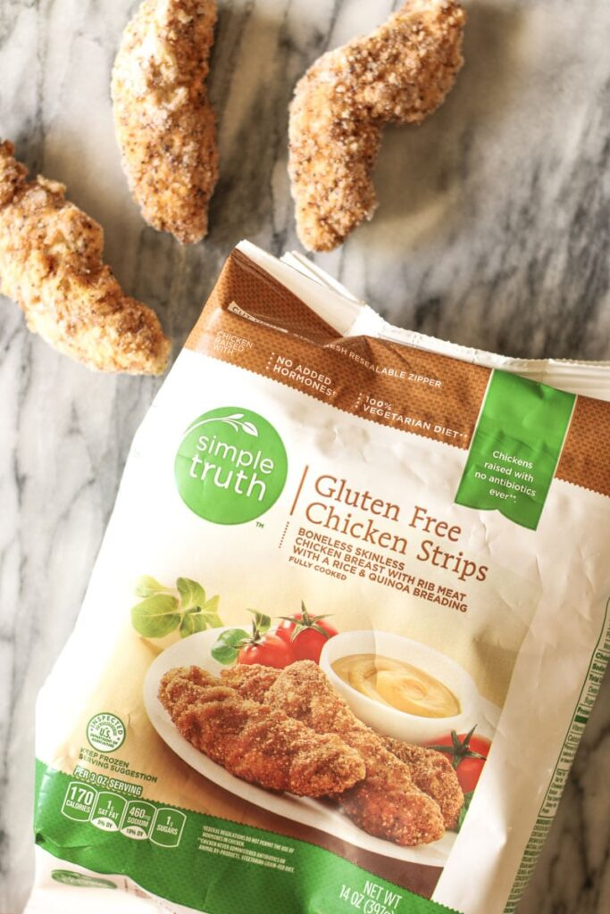 simple truth gluten free chicken tenders, 3 out of package to show size and texture