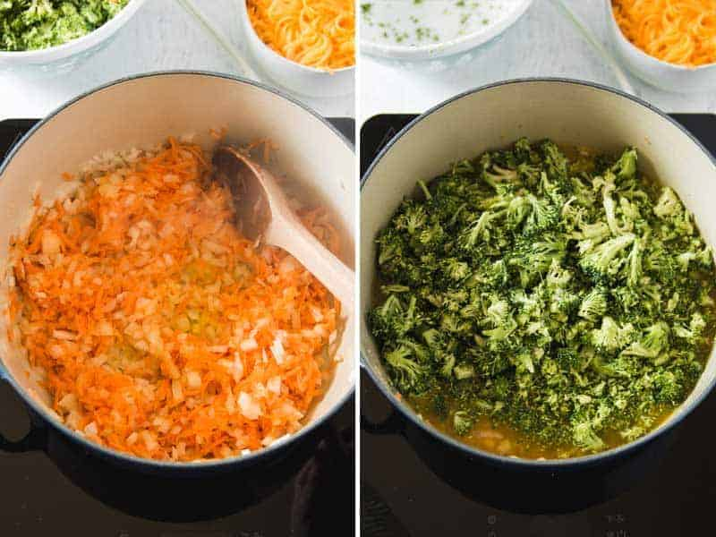 Sautéing carrots and onion, adding in the broccoli.