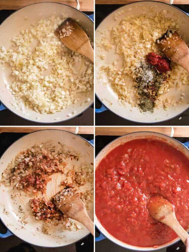 Making marinara sauce for lasagna.