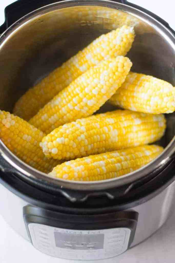 Cooked corn on the cob in the Instant pot.