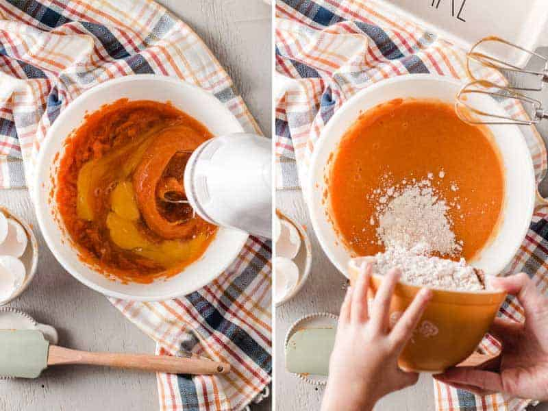 Left: Wet ingredients are mixed with a hand mixer.  Right: Dry Ingredients dumped into wet ingredients.