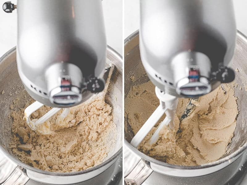 Thumbprint cookie dough in a mixer, left the mixture is dry and shaggy, on the right the dough has hydrated and come together.