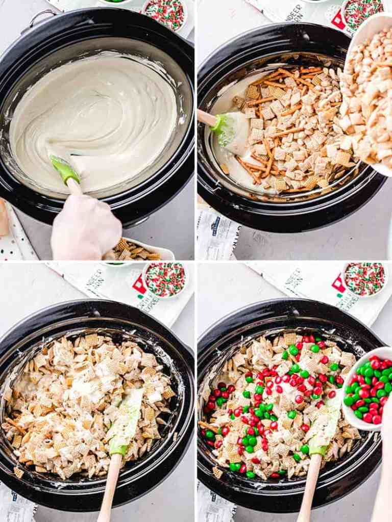 Melted white chocolate in crockpot, pouring in and stirring the pretzels, nuts, and cereal.