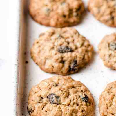 A tray of gluten-free oatmeal raisin cookies.