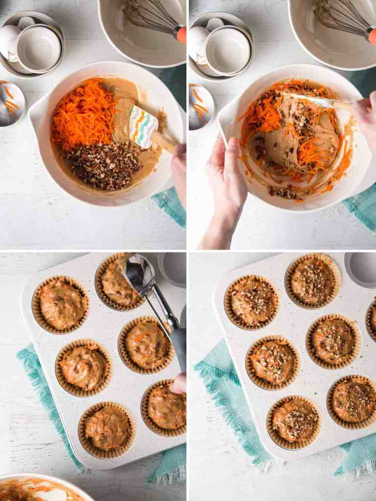 A collage showing the carrots and pecans being stirred into the batter, then the batter scooped into muffin tins.