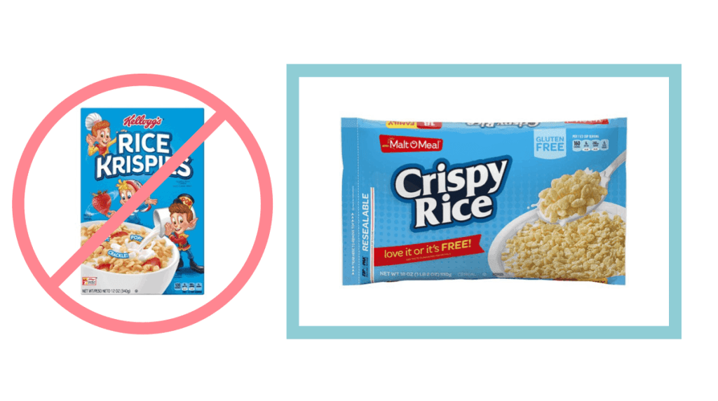 Rice Krispies behind no symbol. Malt-o-meal crispy rice in blue box.