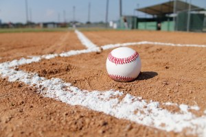 Photo: Baseball in a diamond