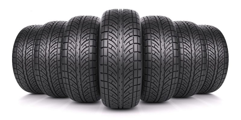 Assorted car tires