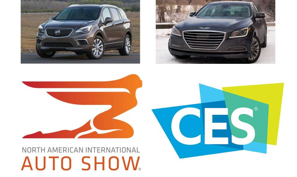 Buick Envision, Genesis G80, North American International Auto Show logo, CES logo
