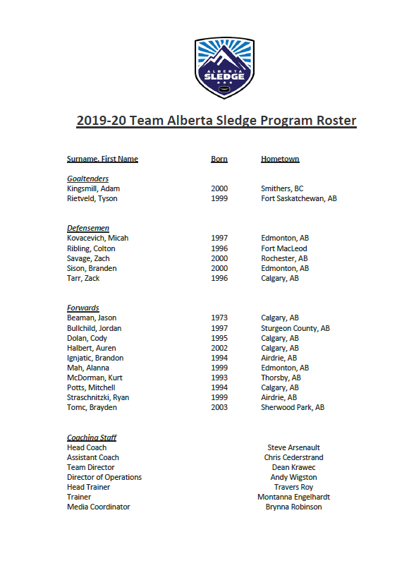 2019-2020 Team Alberta Sledge Roster