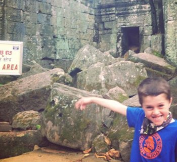 Cooper at the Angkor Wat Temple in Cambodia
