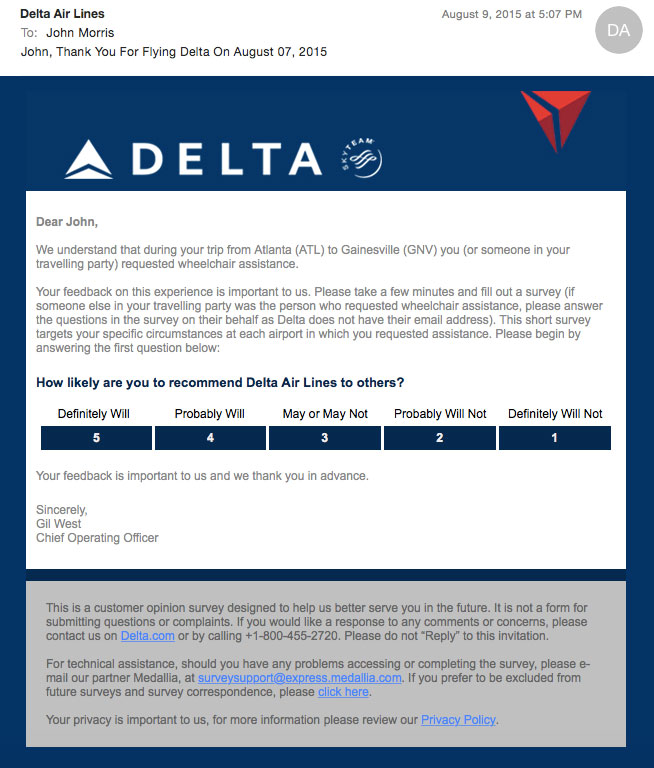 Delta Wheelchair Assistance E-mail Survey