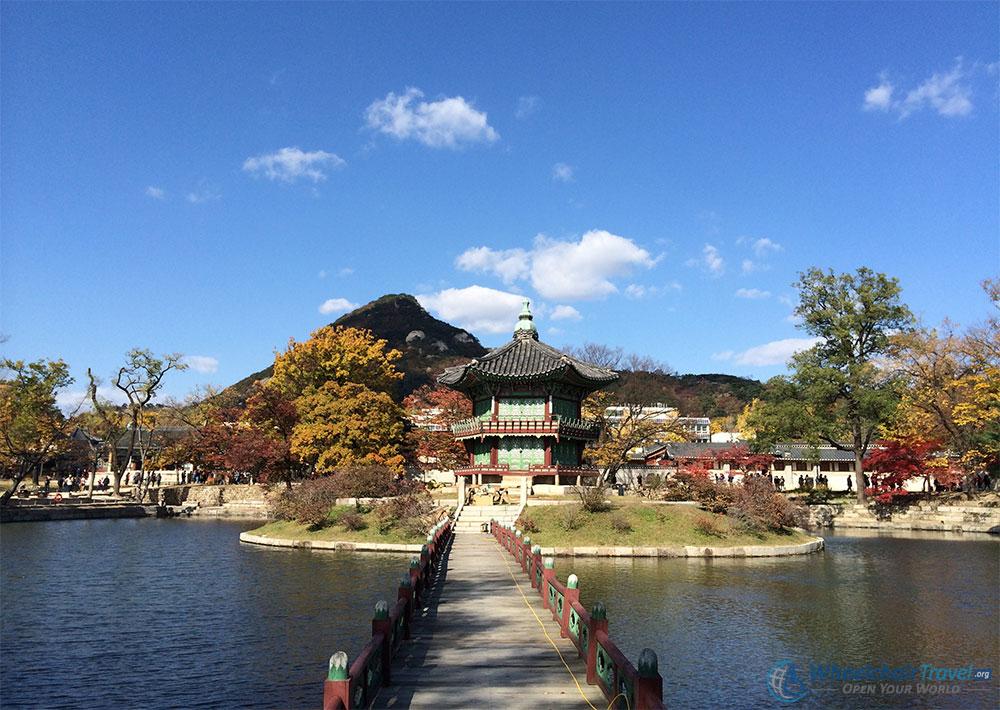 Gyeongbokgung Palace, Seoul Wheelchair Accessible Travel Guide - Hyangwonjeong Pavilion on Hyangwonji Lake