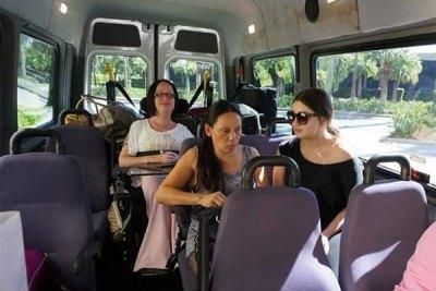 Kim Jago riding in a wheelchair accessible mini bus from California to Las Vegas