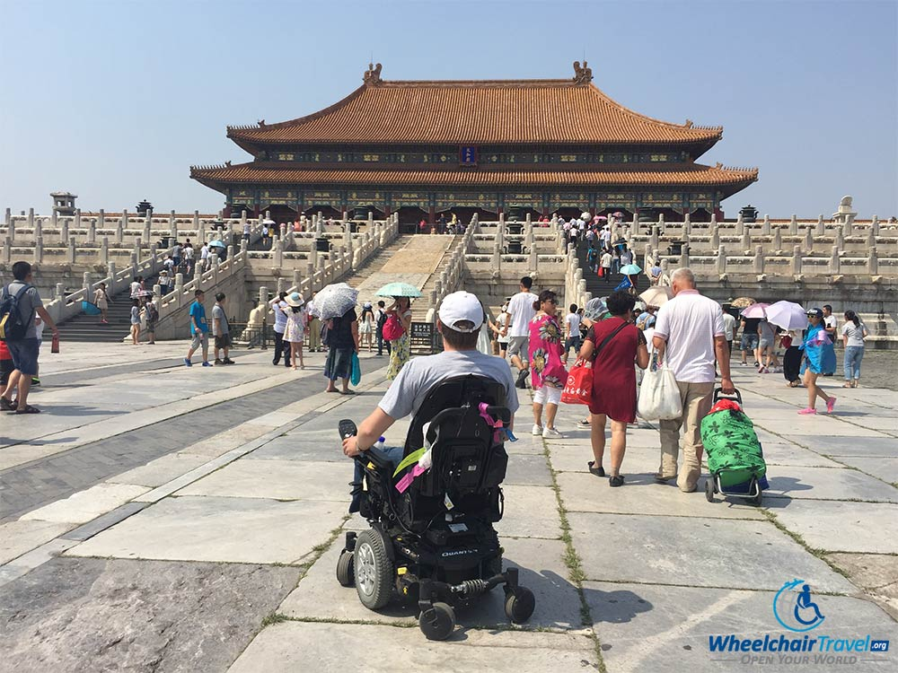 John Morris in the wheelchair accessible Forbidden City in Beijing, China.