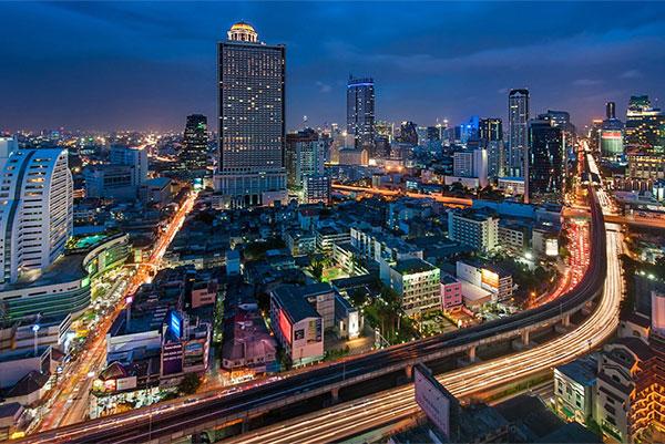 PHOTO DESCRIPTION: Bangkok skyline at night.