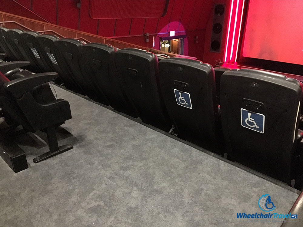 PHOTO: Seating reserved for wheelchairs at 4-D Theater.
