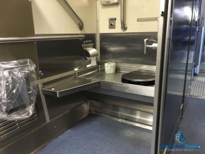 PHOTO: Wheelchair accessible bathroom on Amtrak Hiawatha train.