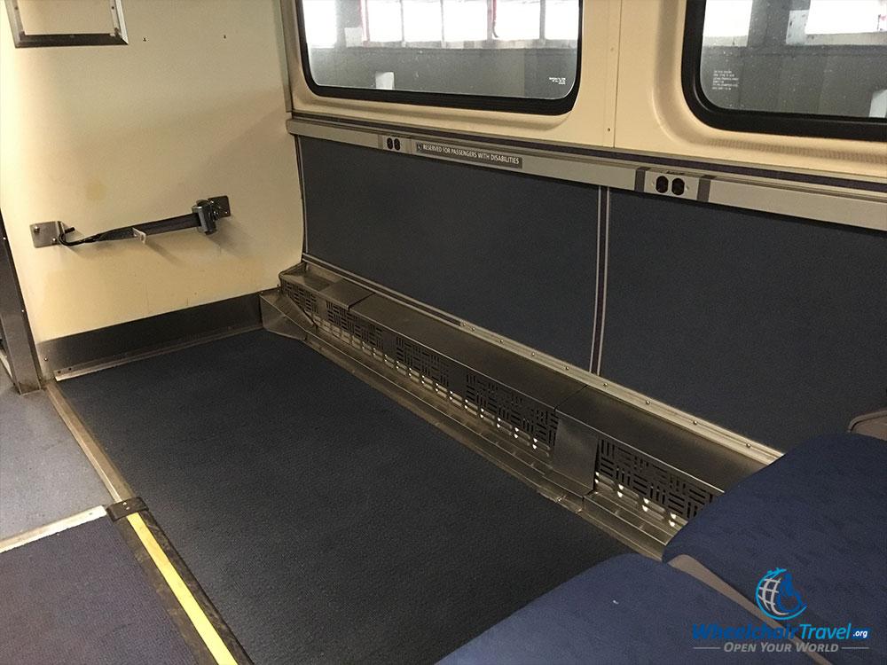 Wheelchair space on Amtrak Hiawatha train.
