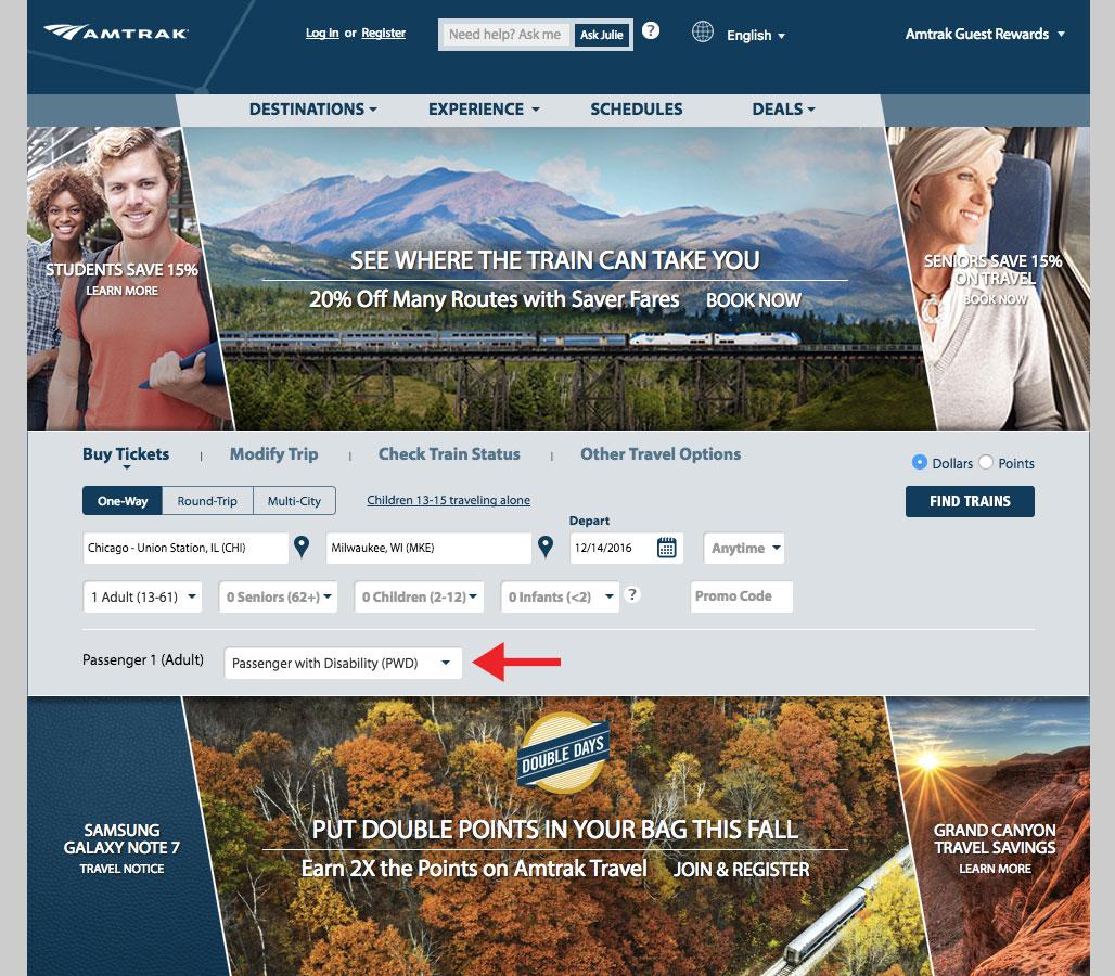 Amtrak.com Homepage.