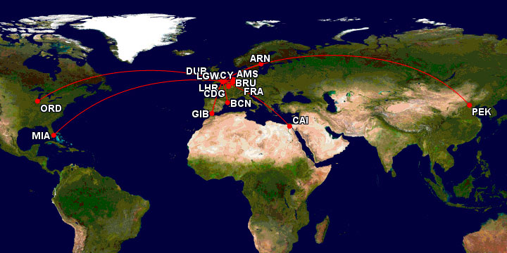 Map of my flights with British Airways.