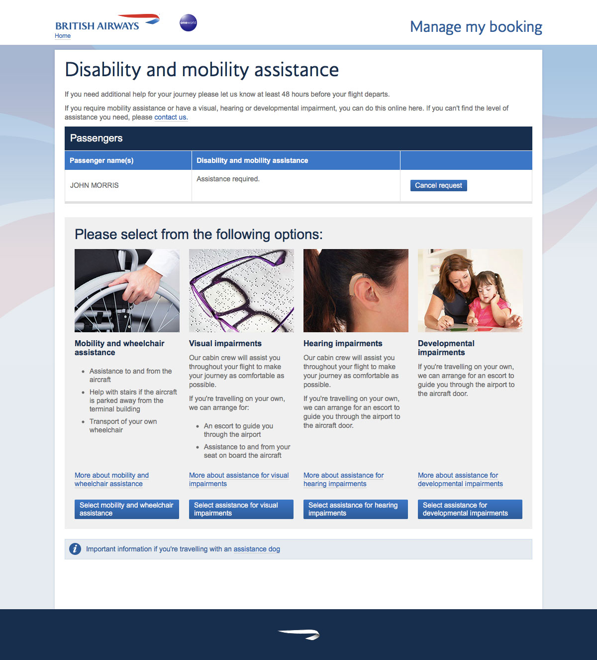 British Airways special service and disability assistance request