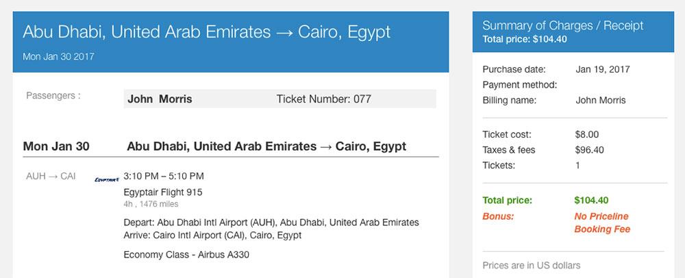 Receipt from Priceline for EgyptAir flight reservation