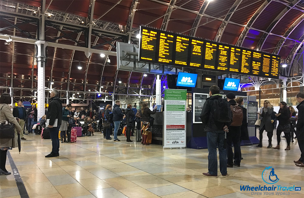 Departures board at London Paddington Station