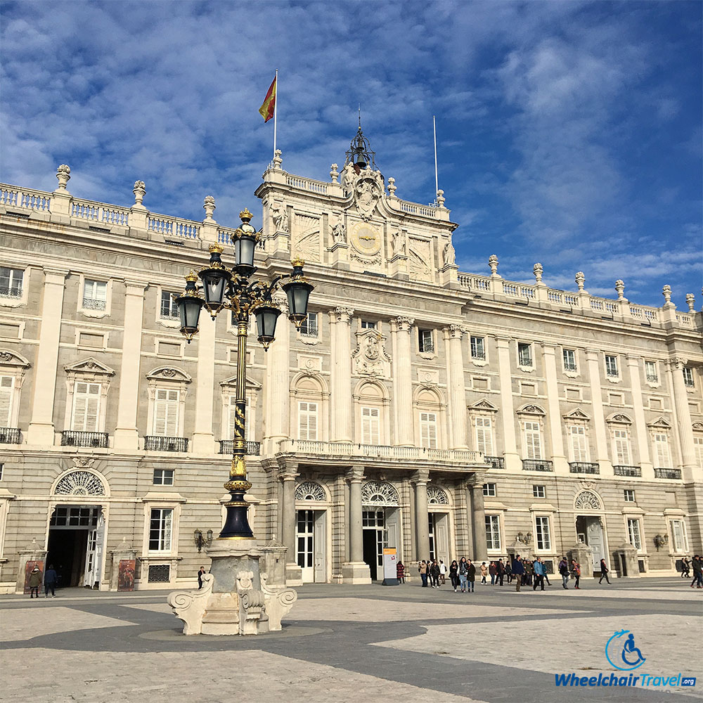 The Royal Palace of Madrid as seen from outer courtyard, just inside the gates