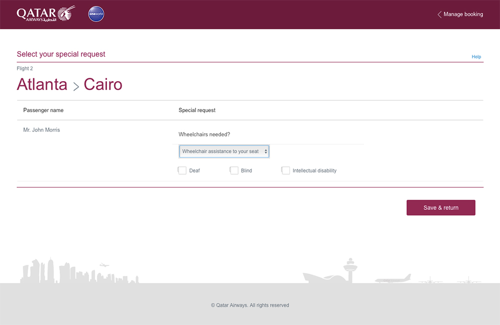Request wheelchair assistance on Qatar Airways - web form
